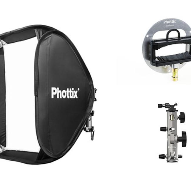 Софтбокс Phottix Transfolder Deluxe 60x60см с круглым окном, решеткой и креплением Cerberus для вспышки
