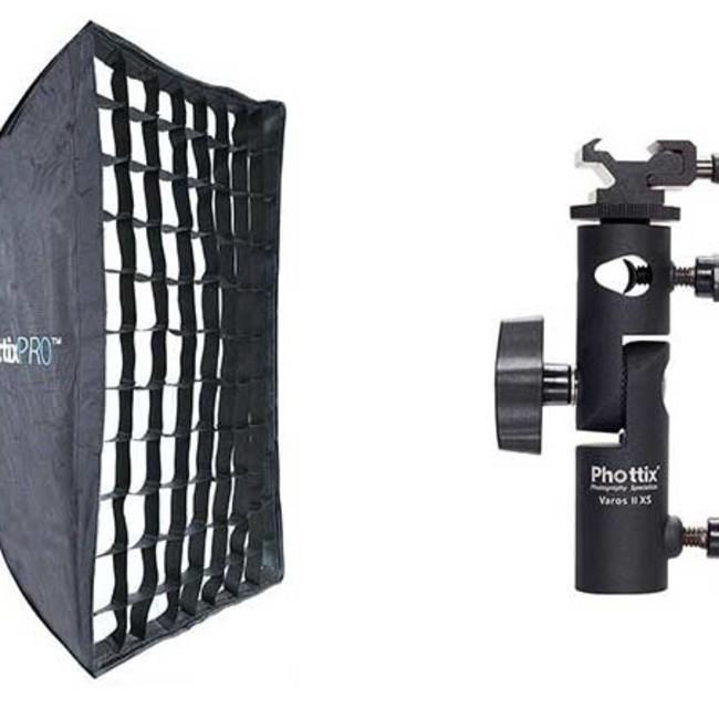 Профессиональный легко-складываемый зонт-софт бокс Phottix HD с решеткой 60х90см и держателем Varos XS