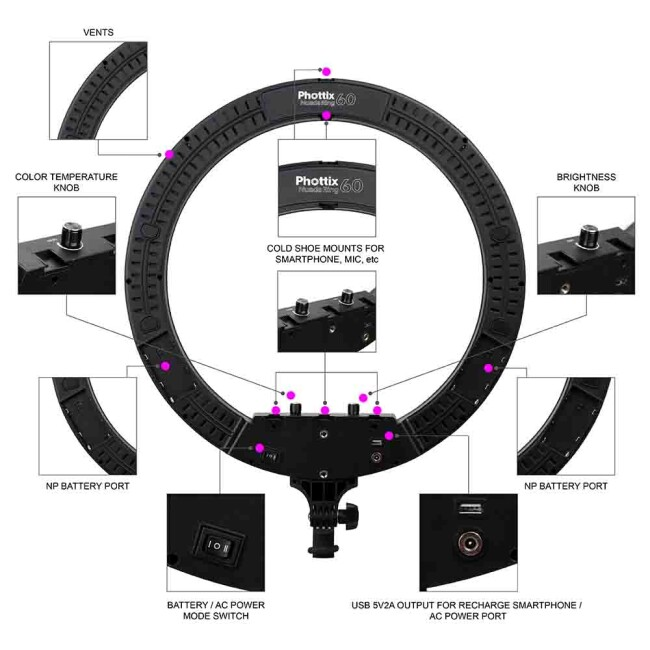 Phottix (81461) Nuada Ring 60 LED кольцевой светодиодный осветитель