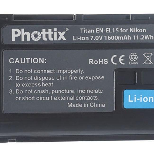Аккумулятор Phottix EN-EL15 для Nikon D7000/V1/D7100/D750/D600/D610/D800/D800E/D810